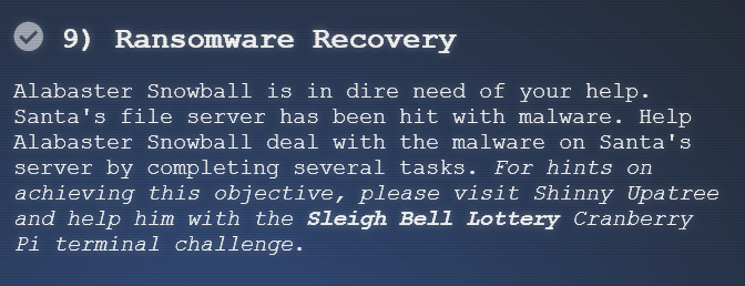 Holiday Hack 2018: Ransomware Recovery | 0xdf hacks stuff